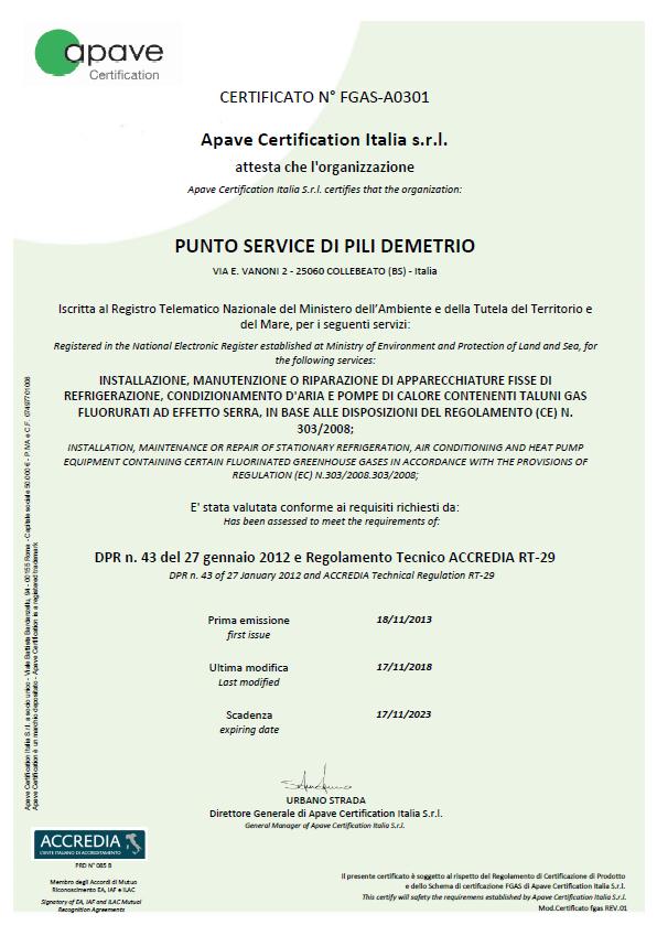 Punto Service climatizzatori Brescia-Certificato F-GAS-A0301